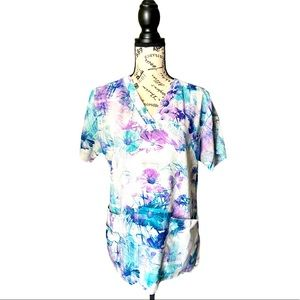 Carhartt multicolor floral scrubs poly blend M